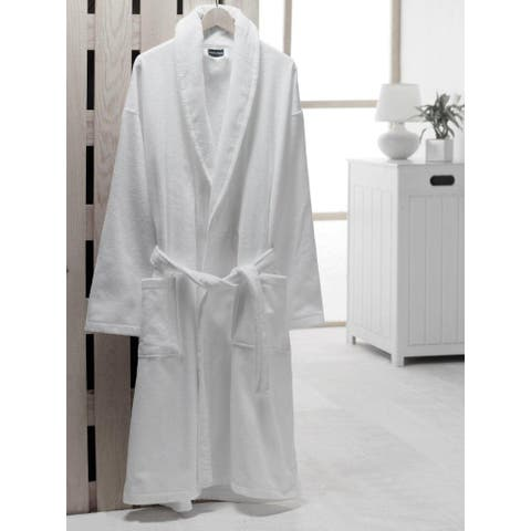 Classic Turkish Towel Silky Velour Cotton Shawl Collar Unisex Bath Robe