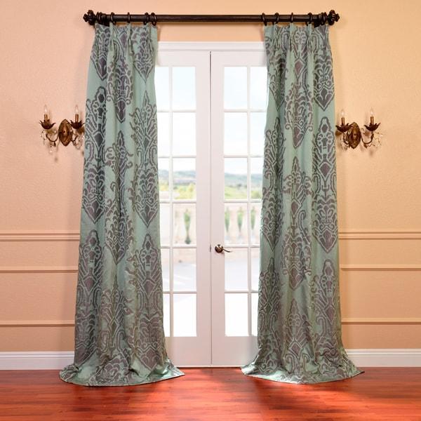 Exclusive Fabrics Minerva Aqua Faux Silk Jacquard French Pleated Curtains