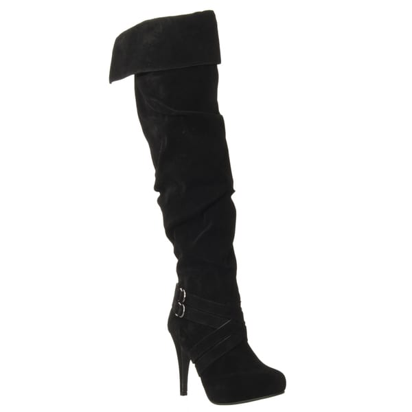 Riverberry Women's 'Joy' Black Over-the-knee Microsuede Boots