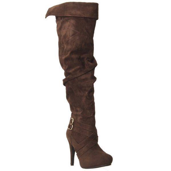 Riverberry Women's 'Joy' Brown Over-the-knee Micro-suede Boots