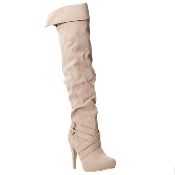 Riverberry Women's 'Joy' Taupe Over-the-knee Microsuede Boots