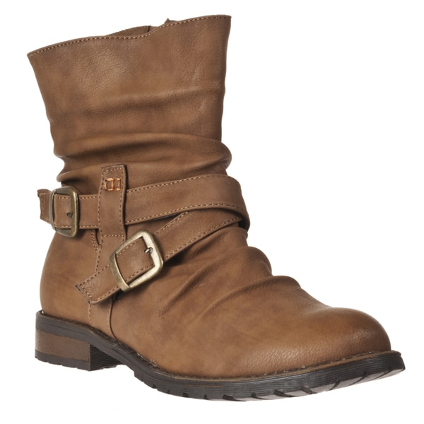 Riverberry Women's 'Kacy' Chestnut Mid-calf Strappy Boots