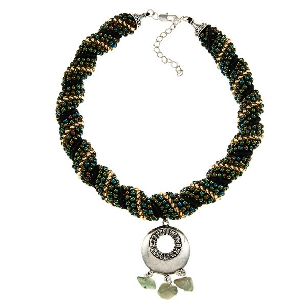 Green Beaded Rope Mayan Charm Necklace (Guatemala)