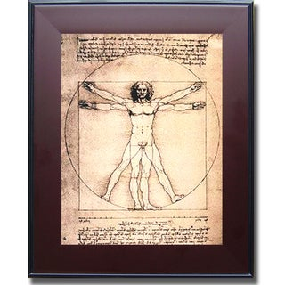 shop leonardo da vinci 39 vitruvian man 39 framed canvas art multi on sale free shipping today. Black Bedroom Furniture Sets. Home Design Ideas