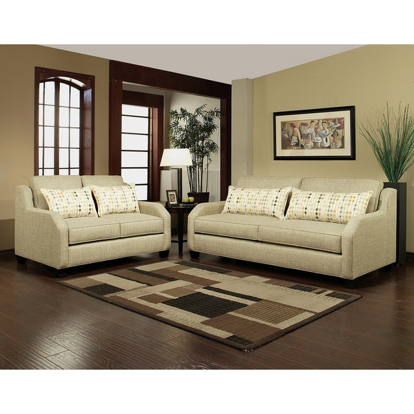 Furniture of America Shapellen Chenille Sofa Loveseat Set