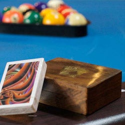 Brass Inlay 'Ace of Spades' Sheesham Wood Box and Cards (India)