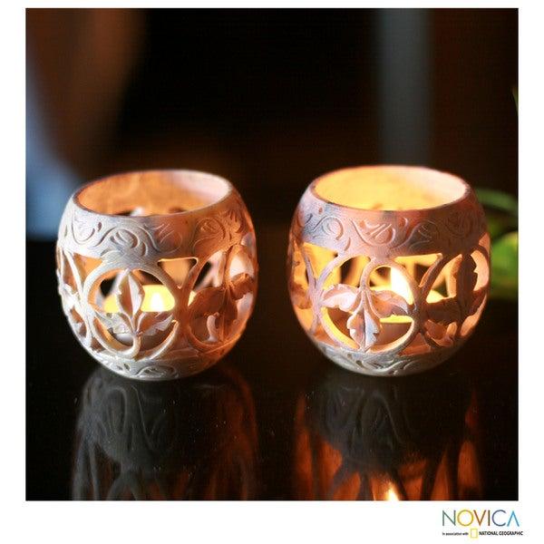 Set of 2 Soapstone 'Fig Leaf' Candleholders (India)
