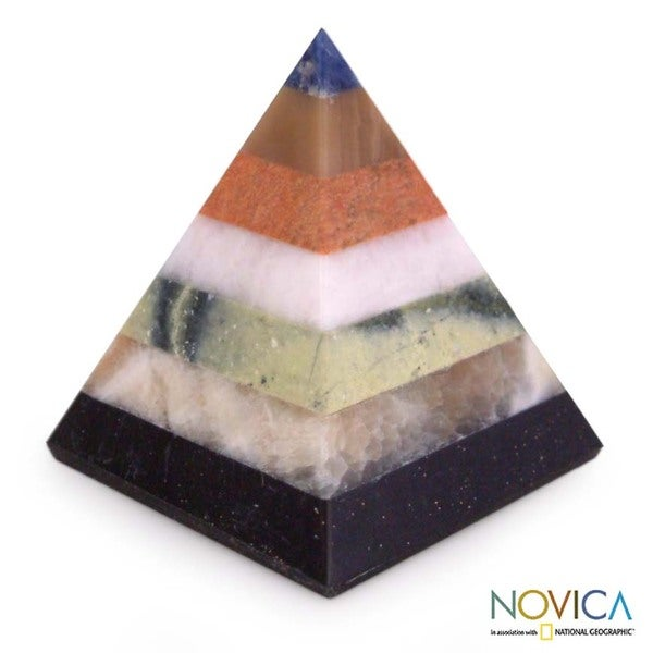 Gemstone 'Colorful Energy' Pyramid (Peru)