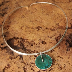 Silver 'Magic Circle' Chrysocolla Necklace (Peru)