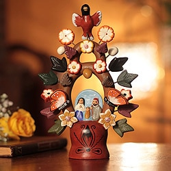 Handmade Ceramic 'Christmas Tree of Life' Nativity Scene Figurine (Peru)