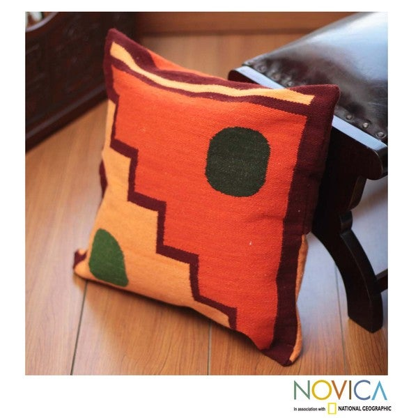 Handcrafted Wool 'Sun and Moon' Cushion Cover (Peru)