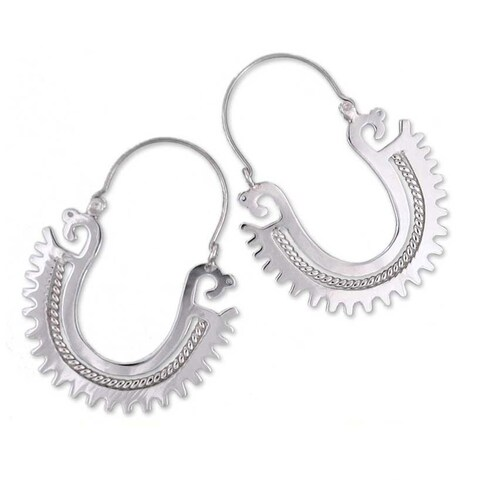 Handmade Sterling Silver 'The Plumed Serpent' Earrings (Mexico)
