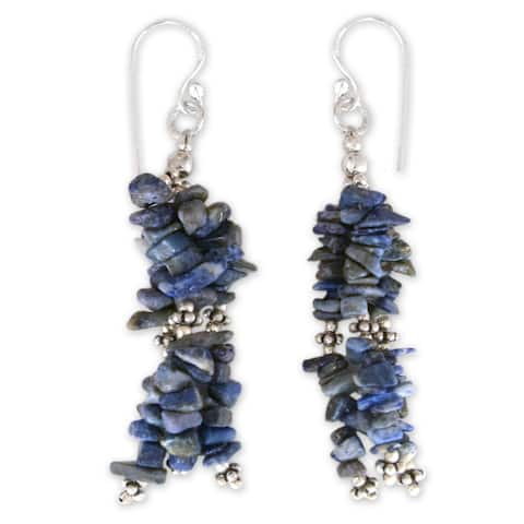 Handmade Rejoice Lapis Lazuli Waterfall Sterling Silver Earrings (India)