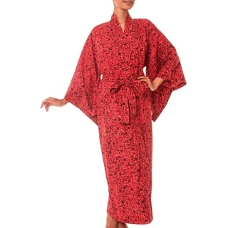 Red Floral Kimono Hand Crafted Full Lenth Year Round Elegant Easy Care Self Tie 100-percent Cotton Womens Robe (Indonesia)
