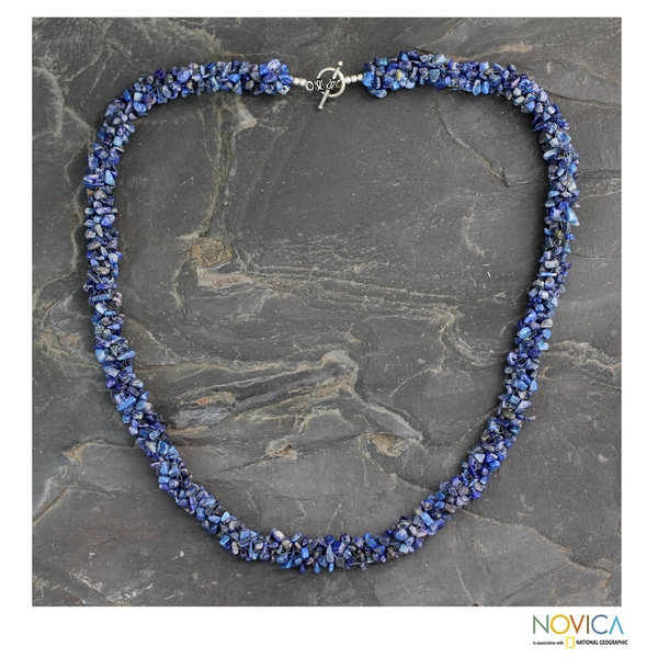 Handcrafted Lapis Lazuli 'Mermaid Song' Long Beaded Necklace (India)