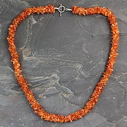 Sterling Silver 'Sunset Glow' Carnelian Necklace (India)