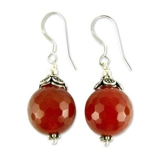 Handmade Sterling Silver 'Jaipur Sonnet' Carnelian Earrings (India)