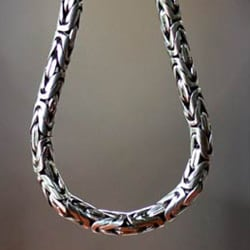 Borobudur Collection Buddhist Zen Inspired Handmade 925 Sterling Silver Naga Snake Mens or Womens Chain Necklace (Indondesia)