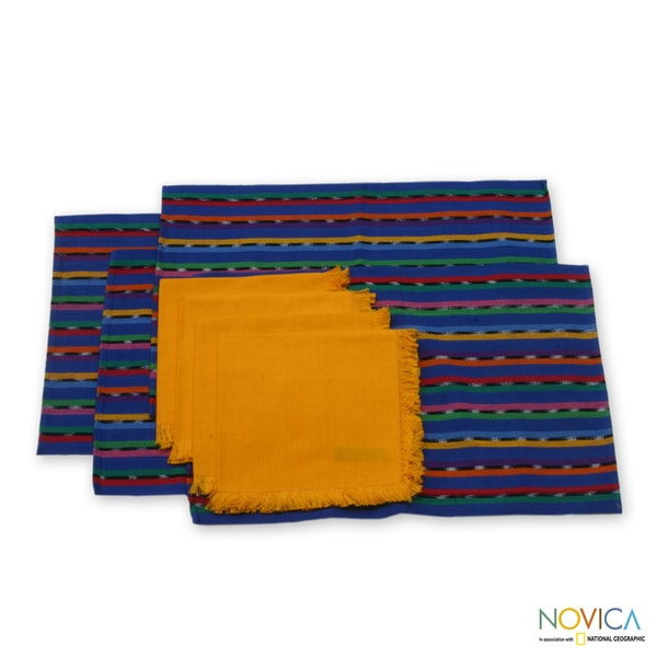 Set of 4 Cotton Placemats and Napkins 'Solola Blue' (Guatemala)
