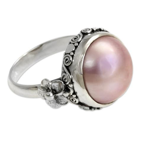 Handmade Love Moon Vintage Style Antique Finish Romantic Pink Round Freshwater Pearl Womens Sterling