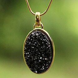 Gold Overlay 'Galactic Black' Drusy Agate Necklace (Brazil)