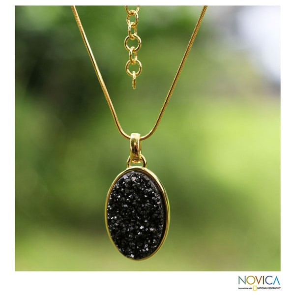 Handmade Gold Overlay 'Galactic Black' Drusy Agate Necklace (Brazil)