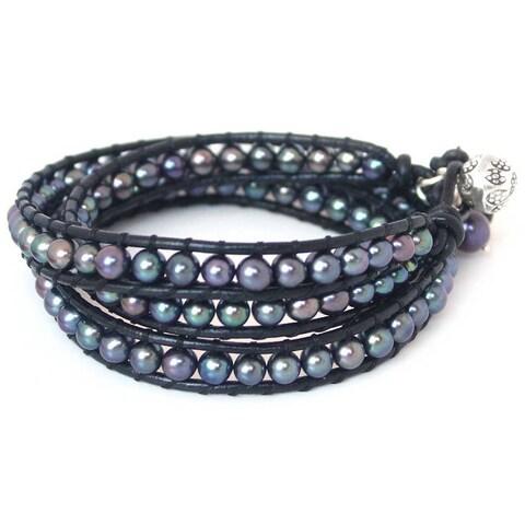 Handmade Silver 'New Midnight Tribal' Pearl Bracelet (6-7 mm) (Thailand)