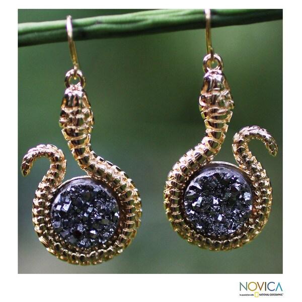 Handmade Gold Overlay 'Silvery Serpent' Drusy Agate Earrings (Brazil)