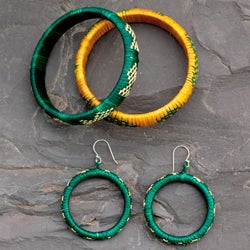 Handmade India Grass 'India Meadows' Jewelry Set (India)