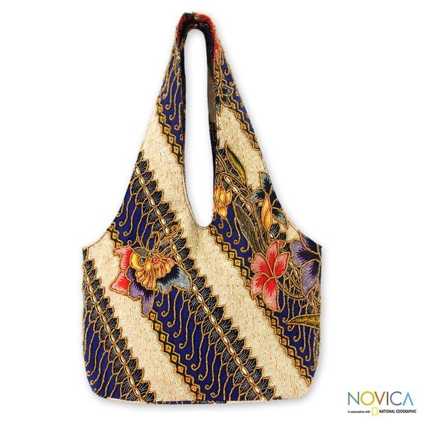 Handmade Beaded Cotton 'Jogjakarta Legacy' Batik Shoulder Bag (Indonesia)
