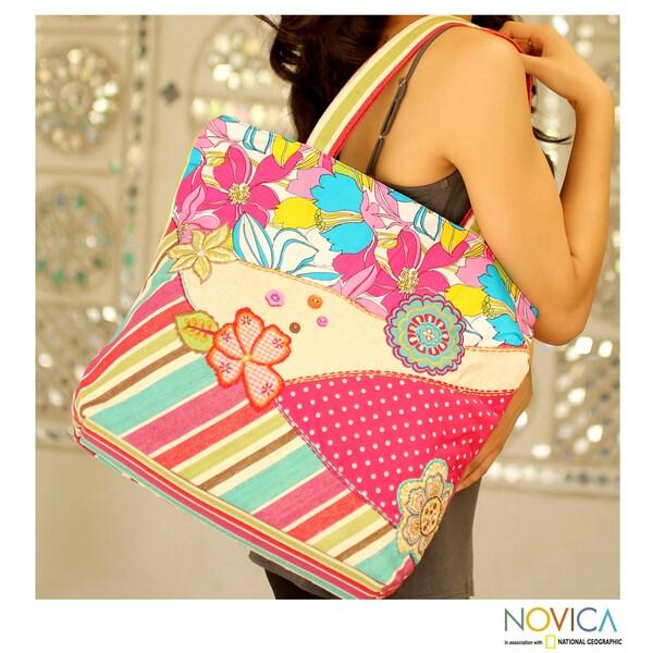 Cotton 'Gaya Garden' Large Tote Handbag (India)