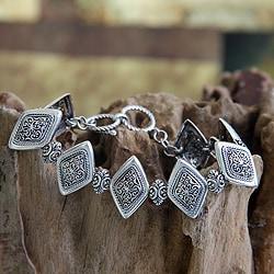 Sterling Silver 'Ubud Rice Field' Bracelet (Indonesia)