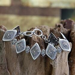 Handmade Sterling Silver 'Ubud Rice Field' Bracelet (Indonesia)