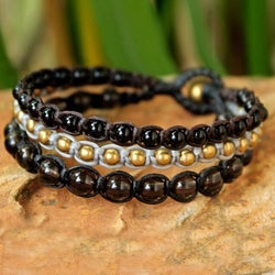 Brass 'Urban Colors' Smoky Quartz and Agate Bracelet (Thailand)