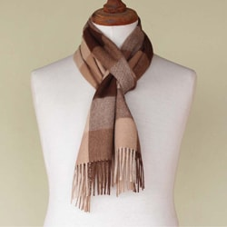 Handcrafted Alpaca Men's 'Brown Squared' Scarf (Peru)