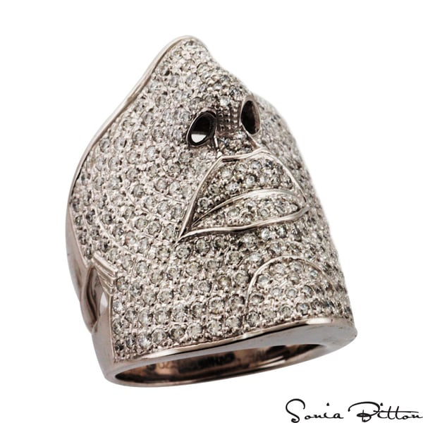 Sonia Bitton 18k Gold 2 1/2ct TDW Designer Pave Diamond Face Design Ring (G-H, SI1-SI2)