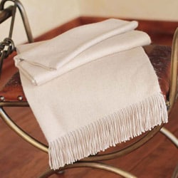 Handwoven Alpaca Cozy Beige Cotton Throw (Peru)