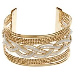 LucyNatalie Goldtone White Bead Braided Wire Cuff Bracelet