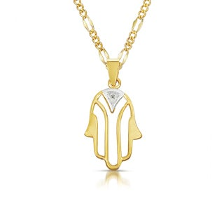 14k Two-tone Gold Diamond Accent Hamsa Necklace