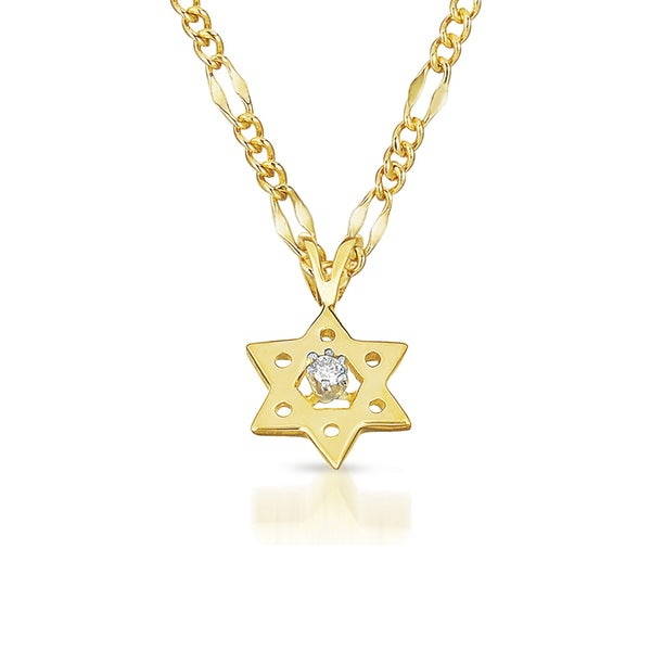14k yellow gold diamond accent 39 star of david 39 necklace for Star of david necklace mens jewelry