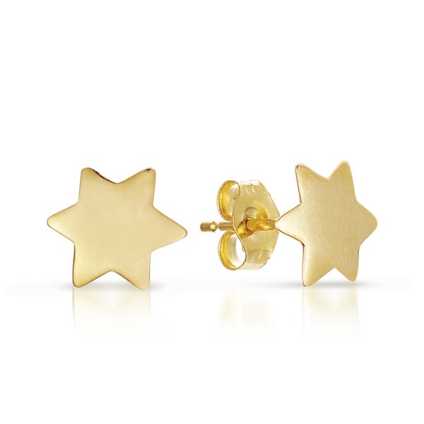 14k Yellow Gold Star of David Stud Earrings. Opens flyout.