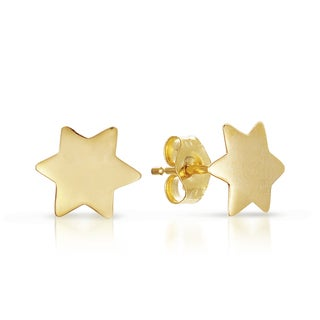 14k Yellow Gold Star of David Stud Earrings