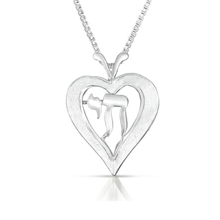 Sterling Silver Heart with 'Chai' Necklace