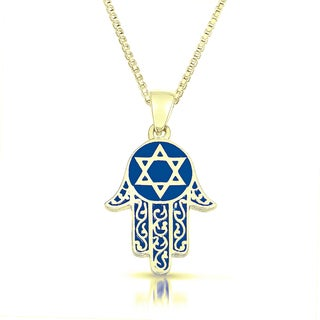 Gold Vermeil Blue Enameled 'Hamsa' Necklace