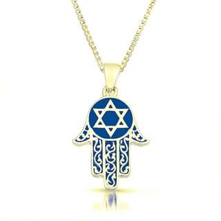 Gold Vermeil Blue Enameled 'Hamsa' Necklace