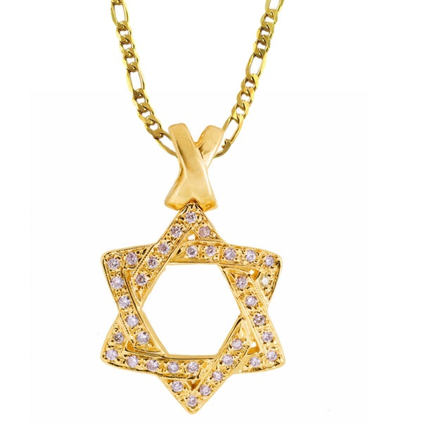 Gold Vermeil Cubic Zirconia Star of David Necklace