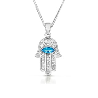 Sterling Silver Blue and Clear Cubic Zirconia 'Hamsa' Evil Eye Necklace