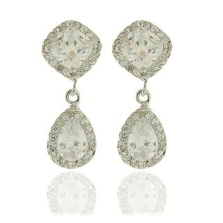 Dolce Giavonna Silvertone White Cubic Zirconia Teardrop Dangle Earrings
