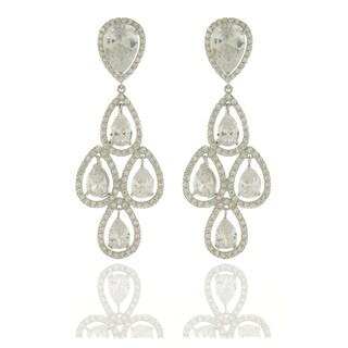 Dolce Giavonna Silvertone White Cubic Zirconia Chandelier Earrings