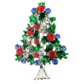 Silvertone Multi-colored Crystal Christmas Tree Brooch